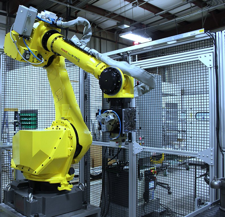 FANUC M-710iC Robot in Automation Cell with Custom End Tooling