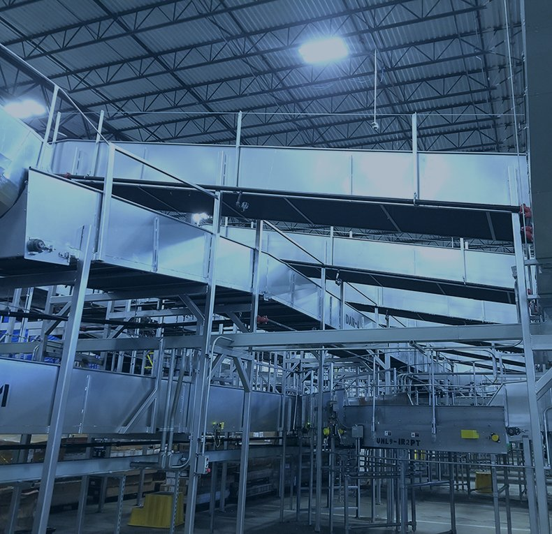 CDLR conveyor systems in a distribution center