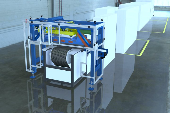 Model 366 Magnetic Furnace Unloader positioned at the discharge of a sinter furnace. Note: The front door may be raised up for manual unloading of difficult to pick or non-ferrous parts. Also, note the narrow width of the Model 366 Magnetic Unloader allows it to be positioned on furnaces with short unload tables.