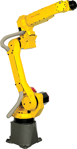 The M-10iA is a light payload handling robot wiith a payload range of 7-35KG. Two types of wrists are available- a hollow wrist allos for easy cable wiring. A high inertia wrist is idel for handling a large workpiece.