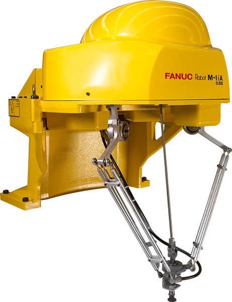 The M-1iA is a lightweight and compact high-speed assembly robot. This lightweight and compact mechanical unit can be installed into tight work spaces, with free angle installation options.