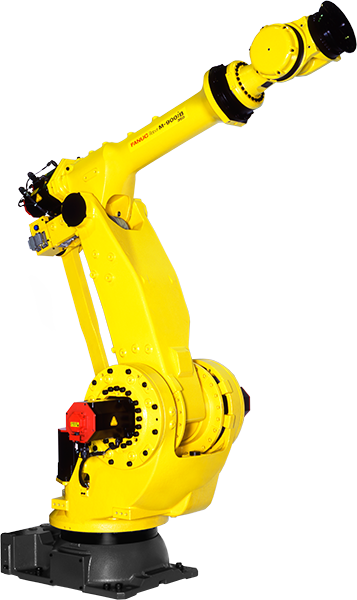 The M-900iB is a heavy payload robot with a wrist capacity of 280kg - 700kg. The M-900iB has a strong wrist and a wide mootin envelope.