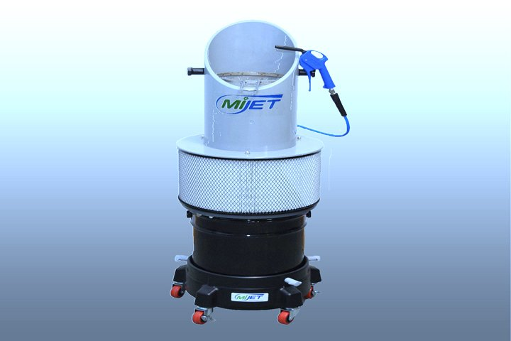 """12"""" angled MiJet part cleaner with a caster base. The caster base allows for ease of portability. The angled top provides an ergonomic approach to cleaning larger parts."""