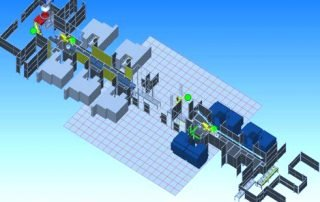 overhead view of CAD 3D model drawing of robot infeed via conveyor systems