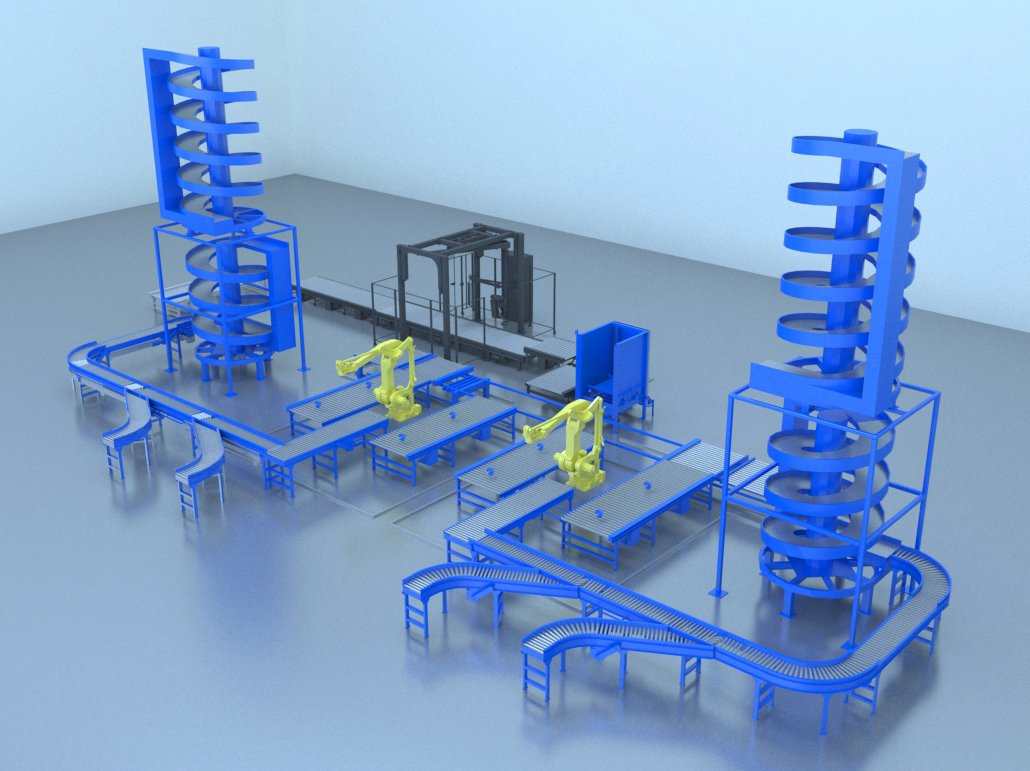 3D model of 2 FANUC robot palletizing cells receiving infeed from CDLR conveyors and vertival chutes. The palletized product then feeds to a Wulftec stretch wrapper on CDLR conveyor