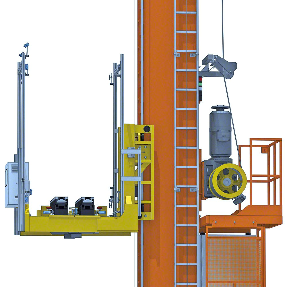3D close up of the ASRS stacker crane fork module