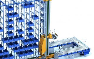 3D rendering of stacker crane for an automated storage and retrieval system outfeeding to 2 CDLR conveyor lines