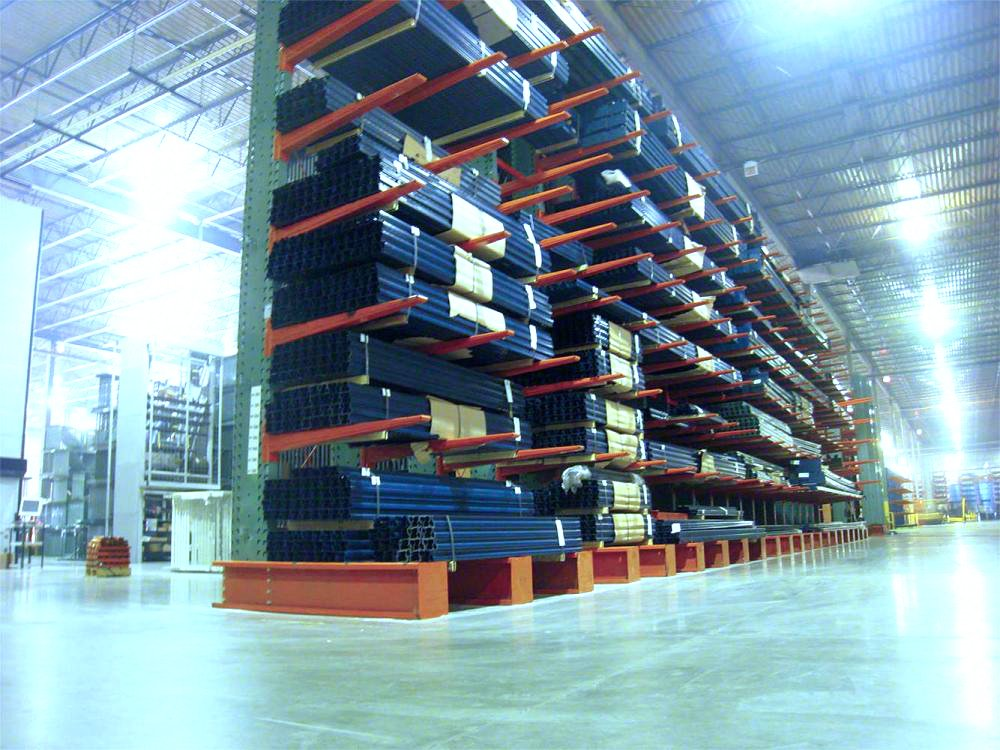 Interlake Mecalux Cantilever Storage Rack holding product