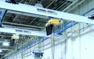 Gorbel 1000 lbs Capacity Enclosed Track Workstation Bridge Crane with Hoists