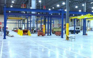 Gorbel Overhead Bridge Cranes inside a manufacturing facility
