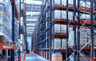 Interlake Mecalux Drive in Pallet Racking in large warehouse facility filled with product in storage