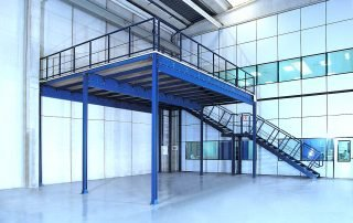 Raised mezzanine installation in corner of industrial warehousing facility