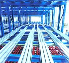 Interior view of a Interlake Mecalux push back pallet rack row