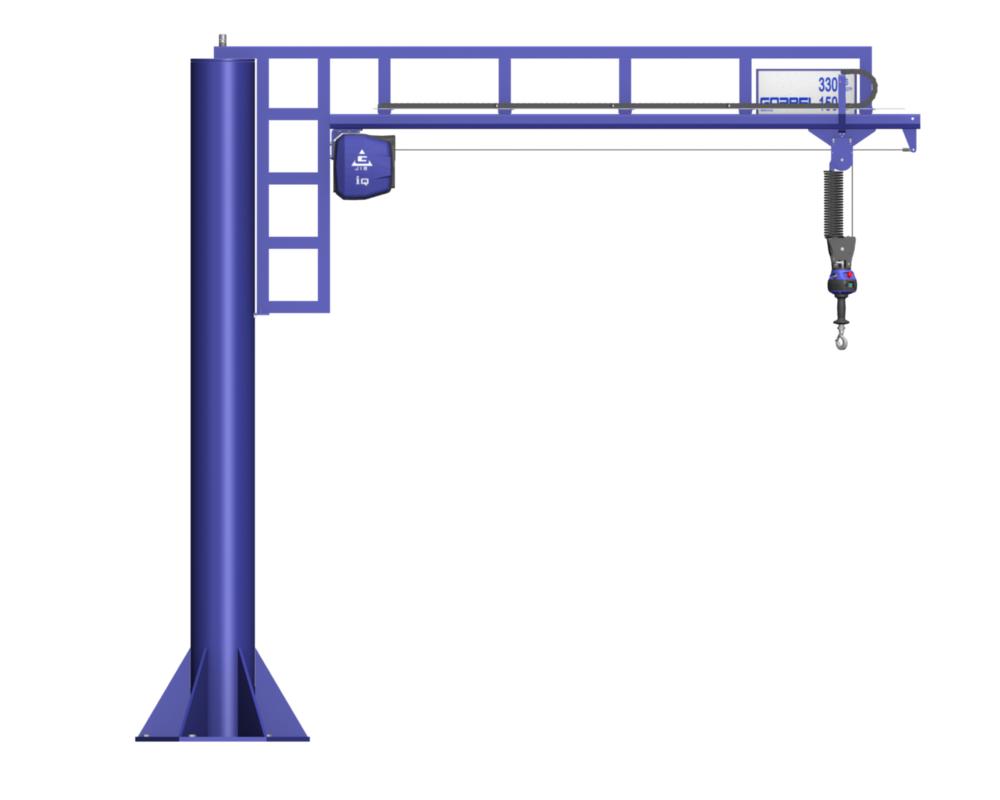 Gorbel Jib Crane with G-Force Intelligent Ergonomic Lifting device