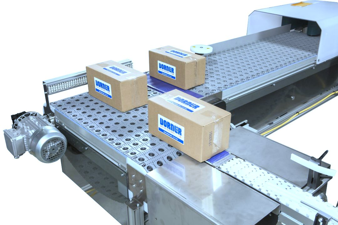Dorner Activated Roller Belt Conveyor (ARB) moving product through a 90 degree turn