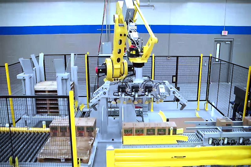 Robot end-of-arm tool above cases ready to be placed on pallet.