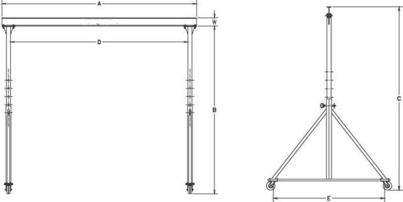 Steel Adjustable Gantry Drawing Horizontal