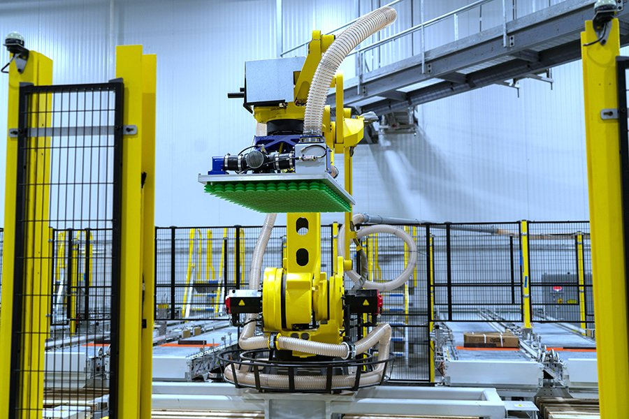 Fanuc M410iC/185 palletizing robot with Schmalz vacuum end of arm tool