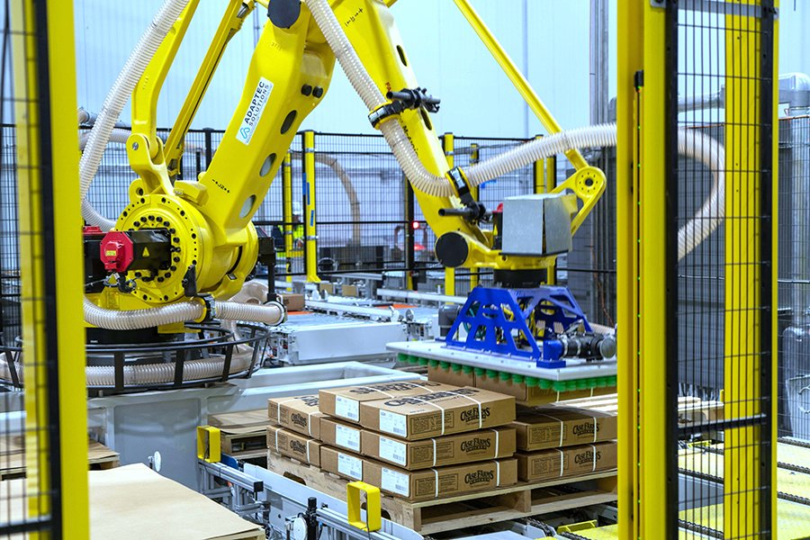 Fanuc M410iC/185 palletizing robot with Schmalz vacuum end of arm tool loading cases of frozen chicken onto pallet
